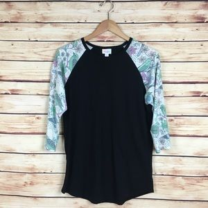 LuLaRoe Randy Top Black Floral Birds 3/4 Sleeves L